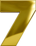 Χρυσό μέταλλο αριθμός 7 Στοκ φωτογραφία με δικαίωμα ελεύθερης χρήσης