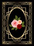 Χρυσό μαύρο υπόβαθρο διακοσμήσεων πλαισίων με τα τριαντάφυλλα και τα  στοκ φωτογραφίες