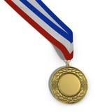 Χρυσό μετάλλιο που απομονώνεται κενό στο λευκό με το διάστημα αντιγράφων τρισδιάστατη απεικόνιση Στοκ φωτογραφία με δικαίωμα ελεύθερης χρήσης