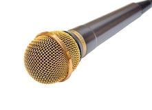 χρυσό μικρόφωνο Στοκ Εικόνες