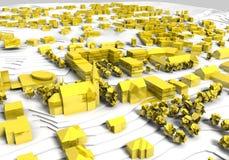 χρυσό μοντέλο πόλεων Στοκ εικόνες με δικαίωμα ελεύθερης χρήσης