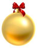 Χρυσό μπιχλιμπίδι Χριστουγέννων με το κόκκινο τόξο διανυσματική απεικόνιση