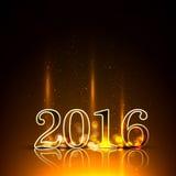 Χρυσό νέο έτος του 2016 στο φωτισμό Στοκ Εικόνα