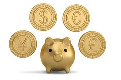 Χρυσό νόμισμα και piggy τράπεζα τρισδιάστατη απεικόνιση απεικόνιση αποθεμάτων