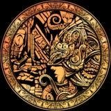 Χρυσό νόμισμα με την εικόνα ενός ιππότη ελεύθερη απεικόνιση δικαιώματος