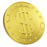 Χρυσό νόμισμα με το σημάδι δολαρίων διανυσματική απεικόνιση