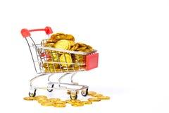 Χρυσό νόμισμα στο κάρρο Στοκ φωτογραφίες με δικαίωμα ελεύθερης χρήσης