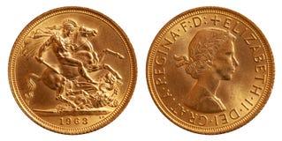 Χρυσό νόμισμα της Μεγάλης Βρετανίας μια λίβρα 1963 στοκ εικόνες με δικαίωμα ελεύθερης χρήσης