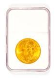 Χρυσό νόμισμα του ST Gaudens στη βαθμολόγηση της περίπτωσης Στοκ Εικόνες