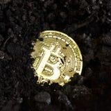 Χρυσό νόμισμα bitcoin που θάβεται στο έδαφος στοκ φωτογραφίες