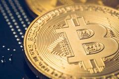 Χρυσό νόμισμα bitcoin Cryptocurrency εννοιολογική εικόνα για crypto το νόμισμα Στοκ Φωτογραφία
