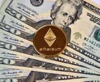Χρυσό νόμισμα Cryptocurrency Ethereum Στοκ φωτογραφία με δικαίωμα ελεύθερης χρήσης