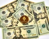 Χρυσό νόμισμα Cryptocurrency Ethereum Στοκ Φωτογραφία