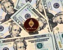 Χρυσό νόμισμα Cryptocurrency Ethereum Στοκ Εικόνες