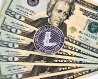 Χρυσό νόμισμα cryptocurrency Litecoin Στοκ Εικόνες
