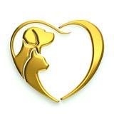 Χρυσό λογότυπο καρδιών αγάπης σκυλιών και γατών Στοκ Εικόνες