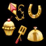 Χρυσό πέταγμα, πέταλα, cupcake και άλλο ικτίνων Απεικόνιση αποθεμάτων