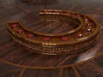 Χρυσό πέταλο με το ρουμπίνι Απεικόνιση αποθεμάτων