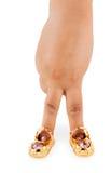χρυσό παπούτσι φωτογραφιώ& Στοκ Εικόνες
