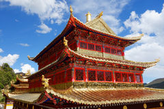 Χρυσό παλάτι στο θιβετιανό ναό Langmusi Στοκ Εικόνες