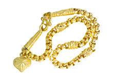 Χρυσό περιδέραιο 96 ταϊλανδικός χρυσός βαθμός 5 τοις εκατό με το χρυσό γάντζο isolat Στοκ Εικόνα