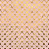 Χρυσό πεταλούδων Πόλκα ρόδινο υπόβαθρο φύλλων αλουμινίου Faux σημείων μεταλλικό Στοκ Εικόνες