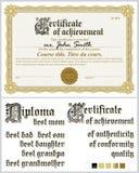 Χρυσό πιστοποιητικό Πρότυπο οριζόντιος Αραβούργημα Στοκ φωτογραφία με δικαίωμα ελεύθερης χρήσης