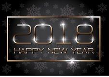 Χρυσό πλαίσιο καλής χρονιάς 2018 σε γκρίζο με snowflakes το σχέδιο σχεδίων για το διάνυσμα υποβάθρου εορτασμού αντίστροφης μέτρησ Στοκ Εικόνες