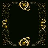 Χρυσό πλαίσιο με τις καρδιές σε ένα μαύρο υπόβαθρο Στοκ φωτογραφίες με δικαίωμα ελεύθερης χρήσης