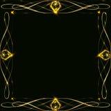 Χρυσό πλαίσιο με το έντονο φως και ακτινοβολία, κενό για μια κάρτα, που απομονώνεται στο Μαύρο Στοκ Εικόνες