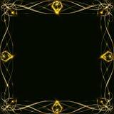 Χρυσό πλαίσιο με το έντονο φως και ακτινοβολία, κενό για μια κάρτα, που απομονώνεται στο Μαύρο Στοκ Φωτογραφίες