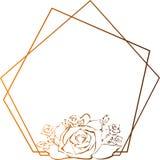 Χρυσό πλαίσιο τριαντάφυλλων, στρέθιμο της προσοχής λουλουδιών και σκίτσο με την γραμμή-τέχνη στα άσπρα υπόβαθρα διανυσματική απεικόνιση