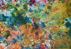 Χρυσό πράσινο υπόβαθρο χρωμάτων Watercolor, λαμπιρίζοντας λασπώδες κέρινο χρώμα, υπόβαθρο μορφών αντίθεσης στα χρώματα κρητιδογρα Στοκ Φωτογραφίες