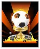 Χρυσό πρωτάθλημα φλυτζανιών ποδοσφαίρου με την πυρκαγιά Στοκ Εικόνες