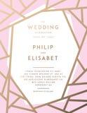 Χρυσό πρότυπο γαμήλιας πρόσκλησης Στοκ εικόνες με δικαίωμα ελεύθερης χρήσης
