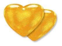 χρυσό πρότυπο δύο καρδιών κίτρινο ελεύθερη απεικόνιση δικαιώματος