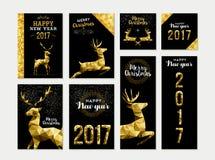 Χρυσό πρότυπο ευχετήριων καρτών ελαφιών που τίθεται για τα Χριστούγεννα Στοκ Εικόνα