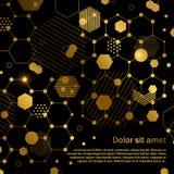 Χρυσό πρότυπο κυψελωτού αφηρημένο γεωμετρικό υποβάθρου απεικόνιση αποθεμάτων