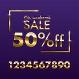 Χρυσό πρότυπο σημαδιών πώλησης Διανυσματικός χρυσός αυτό το κείμενο πώλησης Σαββατοκύριακου με τους αριθμούς για την προσφορά έκπ διανυσματική απεικόνιση