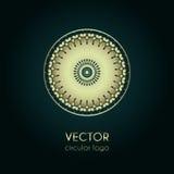 Χρυσό πρότυπο σχεδίου λογότυπων, δημιουργικό κυκλικό έμβλημα, διακοσμητικό εικονίδιο Στοκ εικόνες με δικαίωμα ελεύθερης χρήσης