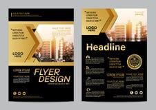 Χρυσό πρότυπο σχεδίου σχεδιαγράμματος φυλλάδιων Σύγχρονο υπόβαθρο παρουσίασης κάλυψης φυλλάδιων ιπτάμενων ετήσια εκθέσεων διάνυσμ διανυσματική απεικόνιση