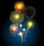 Χρυσό πυροτέχνημα για τα Χριστούγεννα και καλή χρονιά ελεύθερη απεικόνιση δικαιώματος