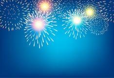 Χρυσό πυροτέχνημα στο μπλε υπόβαθρο για την έννοια εορτασμού ελεύθερη απεικόνιση δικαιώματος