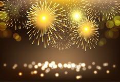 Χρυσό πυροτέχνημα στο υπόβαθρο τοπίων πόλεων για τον εορτασμό ελεύθερη απεικόνιση δικαιώματος