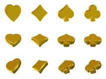 χρυσό πόκερ εικονιδίων Στοκ Εικόνες