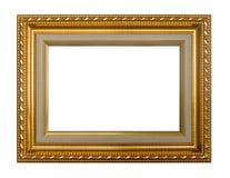 Χρυσό πλαίσιο με τα φύλλα λεπτομερή που απομονώνονται στο άσπρο υπόβαθρο Στοκ φωτογραφία με δικαίωμα ελεύθερης χρήσης