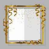 Χρυσό πλαίσιο με τη χρυσή κορδέλλα, serpentine, τη σκόνη και τη Λευκή Βίβλο για το ιπτάμενο, αφίσα, για το σημάδι πώλησης, έκπτωσ Στοκ Φωτογραφίες