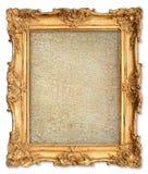 Χρυσό πλαίσιο με τον κενό ραγισμένο καμβά για την εικόνα σας Στοκ φωτογραφία με δικαίωμα ελεύθερης χρήσης