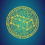 Χρυσό σημάδι εικονιδίων φραγμών στο polygonal χαμηλό πολυ υπόβαθρο γραμμώ στοκ φωτογραφίες με δικαίωμα ελεύθερης χρήσης
