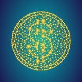 Χρυσό σημάδι εικονιδίων χρημάτων δολαρίων στο polygonal χαμηλό πολυ υπόβα στοκ φωτογραφίες
